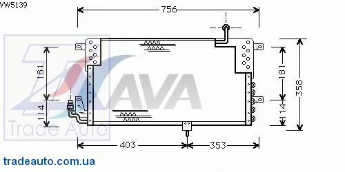 VW5139 AVA COOLING SYSTEMS Конденсатор, кондиционер